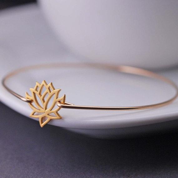 5. Lotus Flower Gold Bangle Bracelet