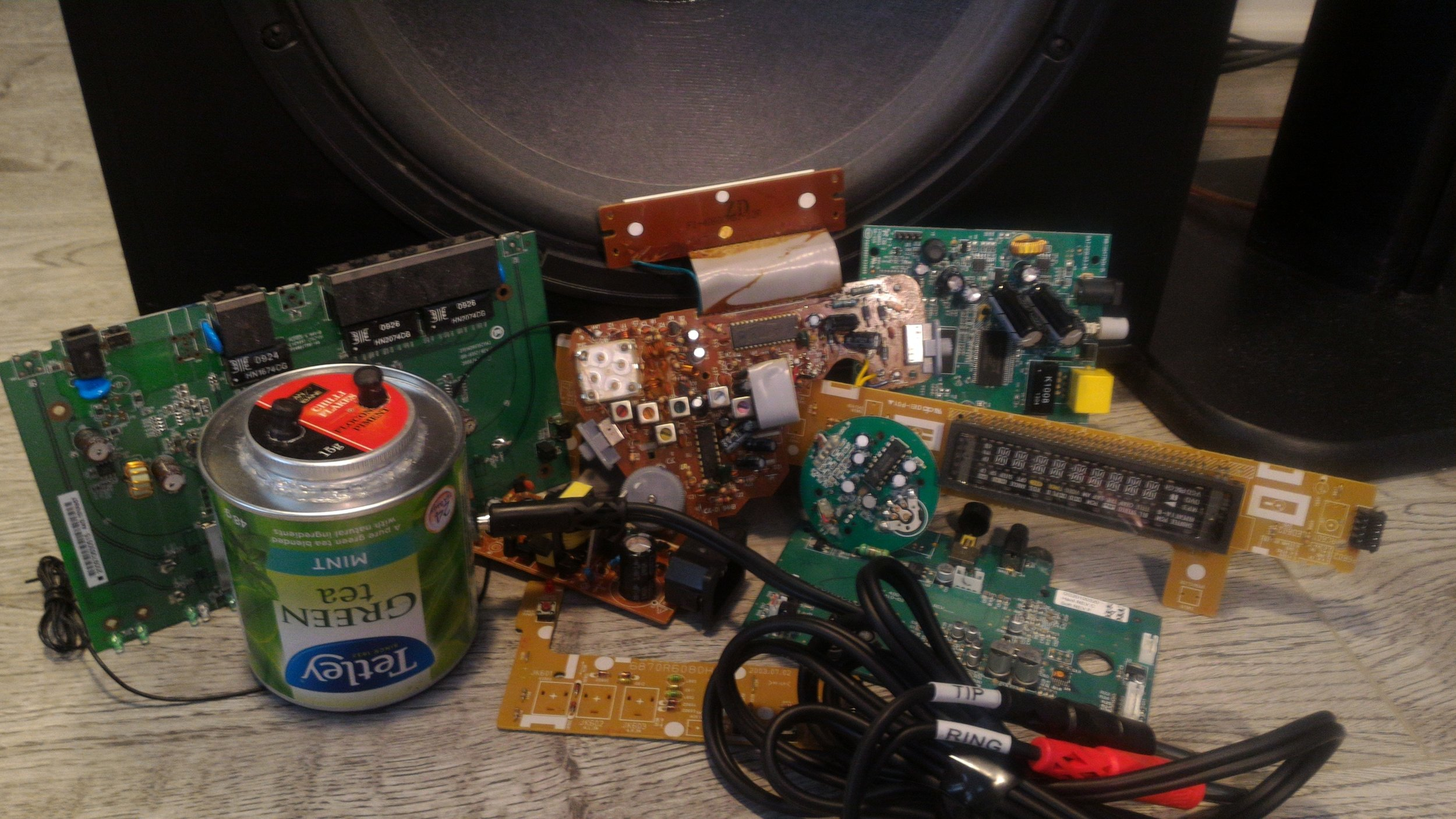 Our parts for our homemade electrosleusch. Great for sound design cutting in user interface (UI)