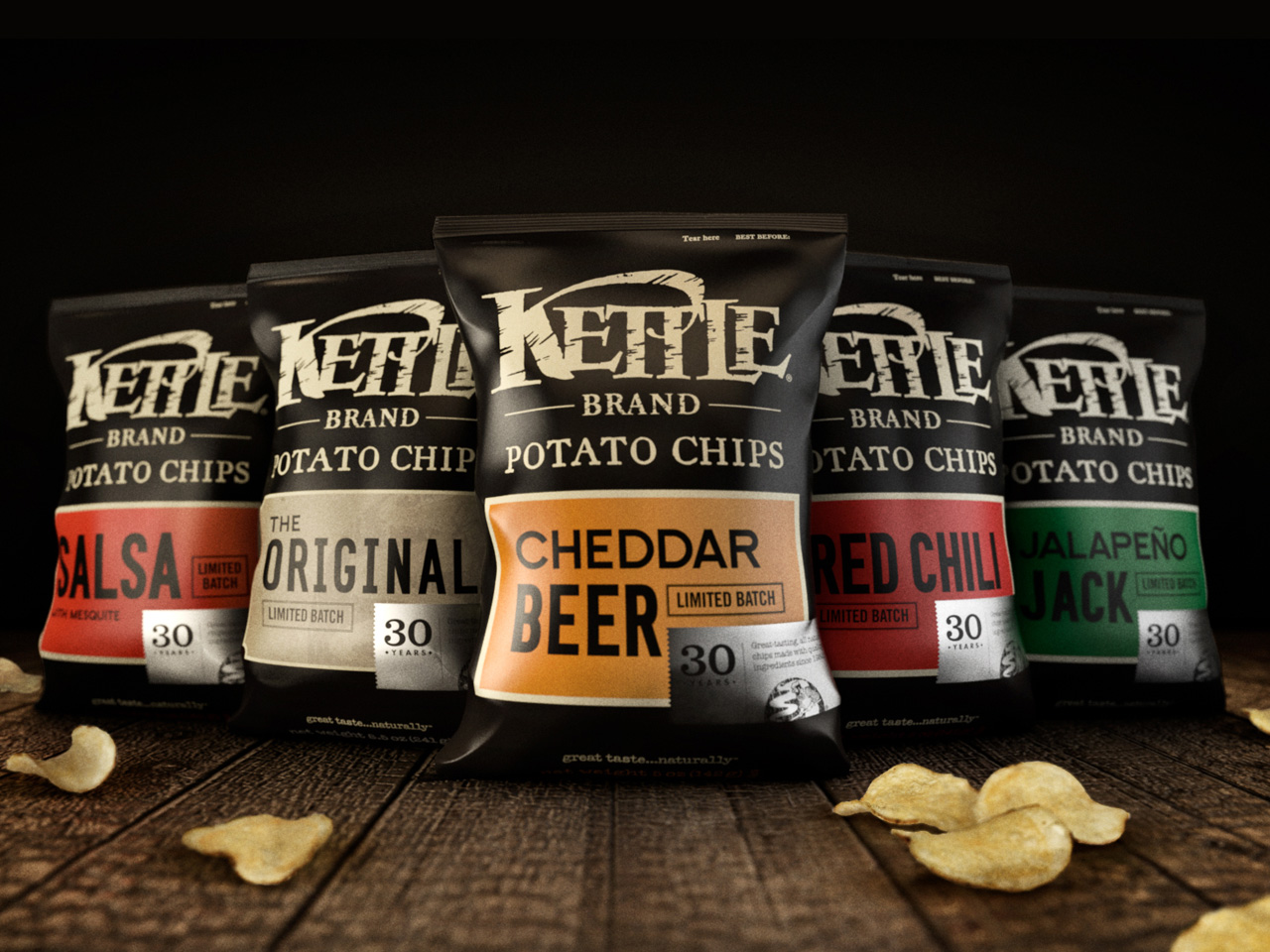 Packaging design for Kettle's limited batch special edition flavors, celebrating 30 years of great tasting kettle cooked potato chips