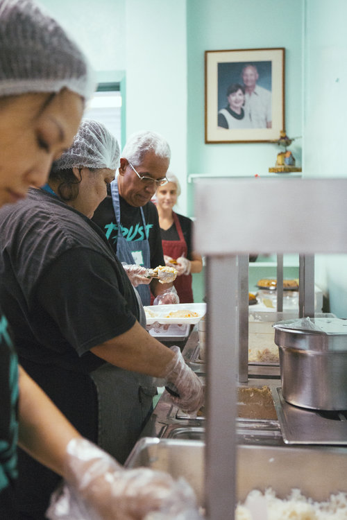 A food line at the River of Life Mission