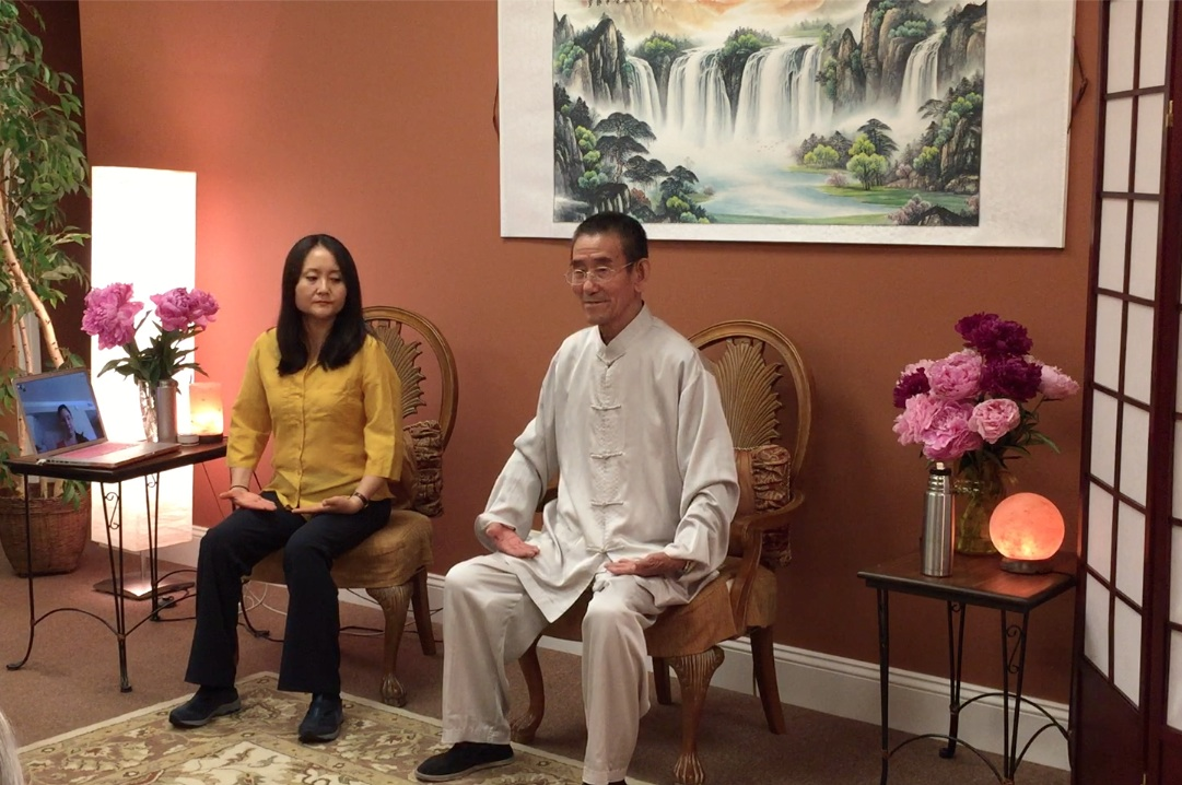 Master Wang at 82 and Chiyan are demonstrating the best position to receive Qi/life energy