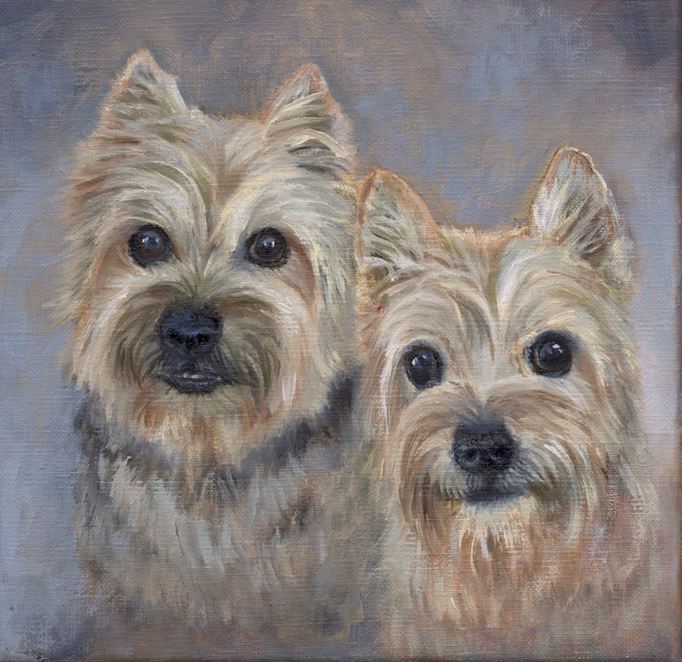 Ollie & Dickens      8 x 8     Oil      Commission