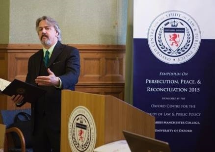 Dr. K. Mark Hilliard speaking at the Oxford Centre World Peace Symposium at Harris Manchester College, University of Oxford, March 2015