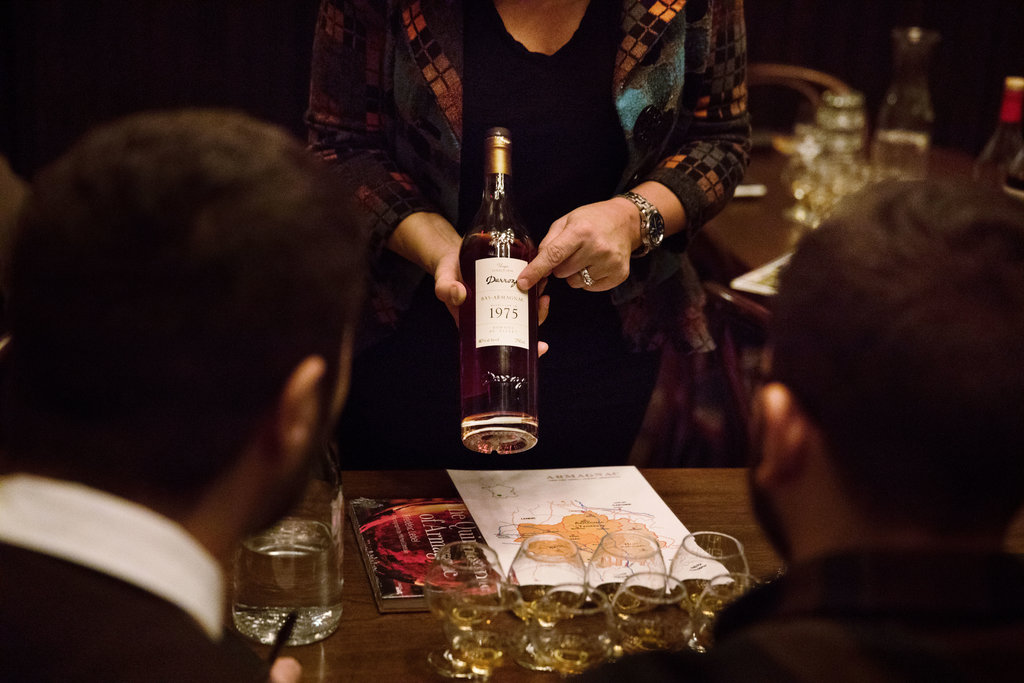 May Matta-Aliah, the New York ambassador for the Bureau National Interprofessionel de l'Armagnac, led the tasting.CreditBenjamin Norman for The New York Time