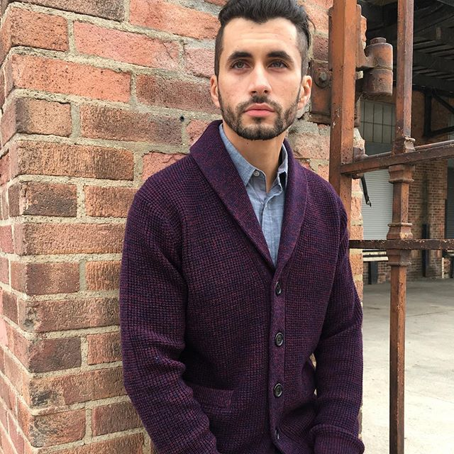 Burgundy waffle  cardigan from Fall2018 collection #cardigan #menscardigan #mixcolorcardigan #barquenewyork #barque #menswear #modernclassics #fall2018collection