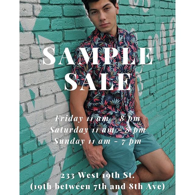 Sample Sale this weekend in NYC!  Stop by to see us - 233 west 19th st (19th between 7th and 8th Ave)! Up to 70% off regular price!  #modernliberation #barque #trendybegger #samplesale #nycsamplesale #menswear #menssamplesale