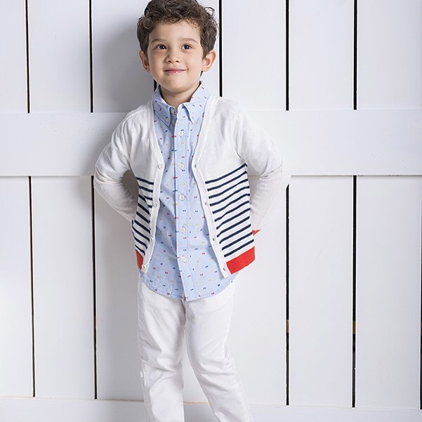 Multi-color dot shirt with striped cardigan #ss2017collection #barquekids #coolkids #boysshirts #coolboysclothing #barquenewyork #childrensclubnyc #kidswear #kidscollections #preppyboystyle