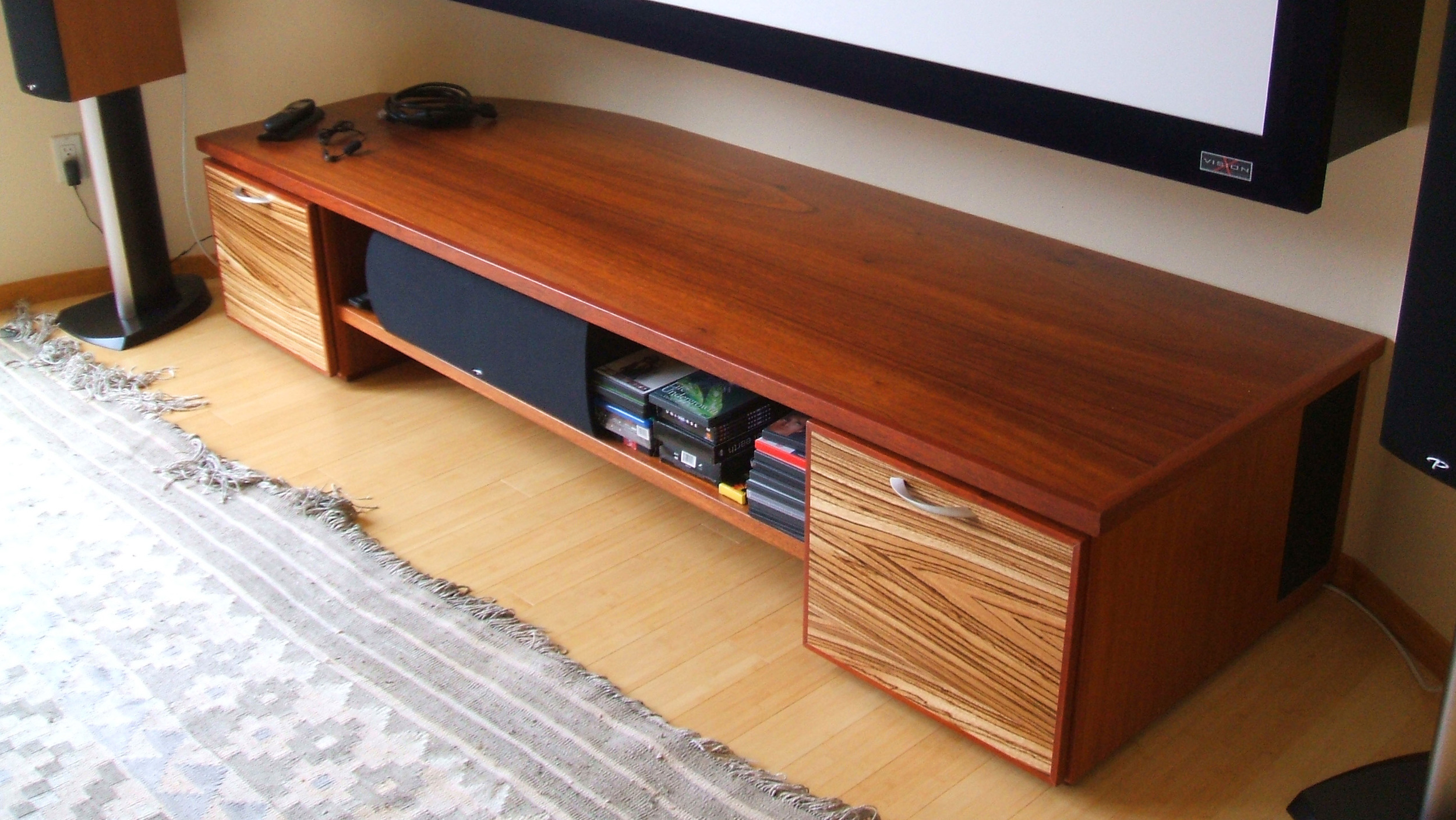 Home theater with Zebrawood and Jatoba