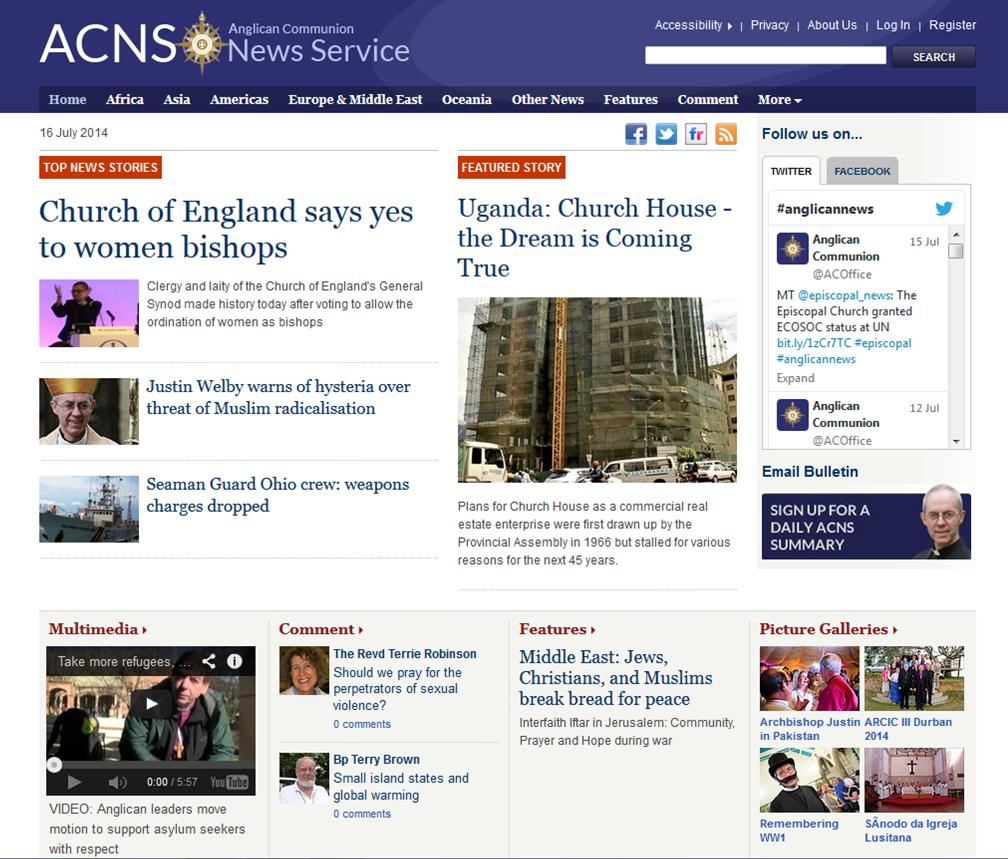 www. Anglicannews.org  is a service that aggregates news from around the Anglican communion into one easy site, making it simple to keep up to date with the Anglican Church around the world.  As well as listing the news,  you can sign up for a daily email   that means you get a reminder of what's going on and where.  One of the by-products of a site like this is that you can glance over its contents and get an interesting picture of what the Anglican Church is all about.  What does it think is important?  Where do its values lie?  One answer to that question is found here.