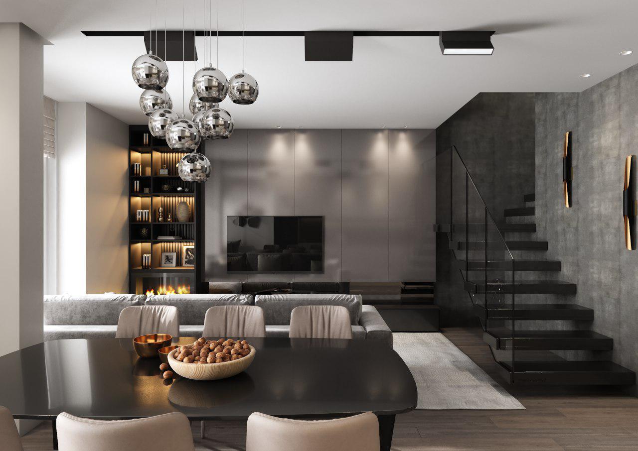 Квартирав стиле модерн - Дизайн интерьера 2х-уровневой квартиры в современном стиле.Общая площадь 80 кв.м.ЖК