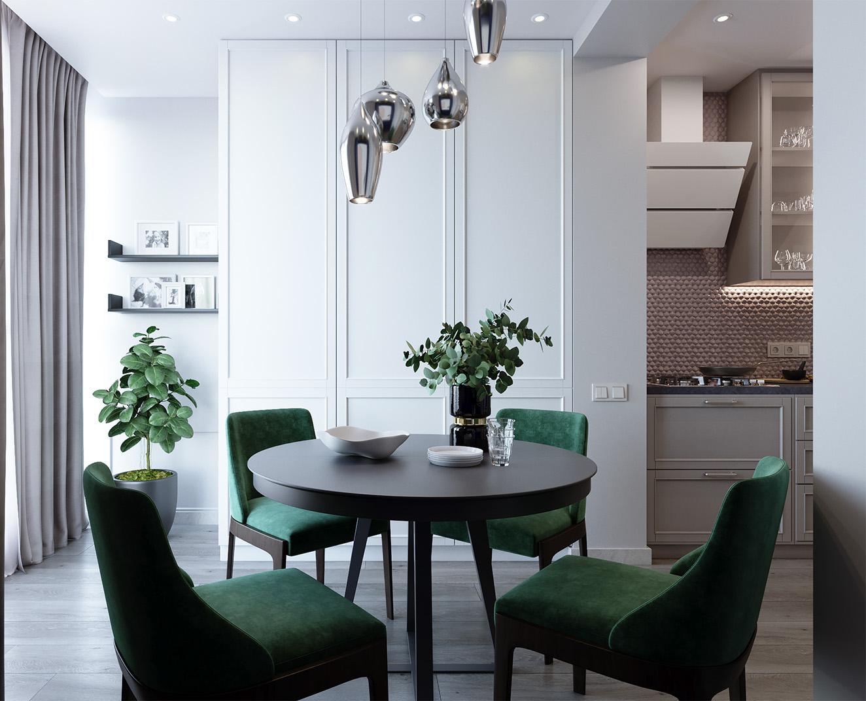 """Квартирав ЖК """"SophiaResidence"""" - Квартира с непростой конфигурацией стен и маленькими площадями. В проекте осуществлена небольшая перепланировка, чтобы сделать комнаты более уютным и комфортными для проживания. Вкрапления глубоких оттенков синего и зеленого делают жилое пространство более насыщенным и камерным."""