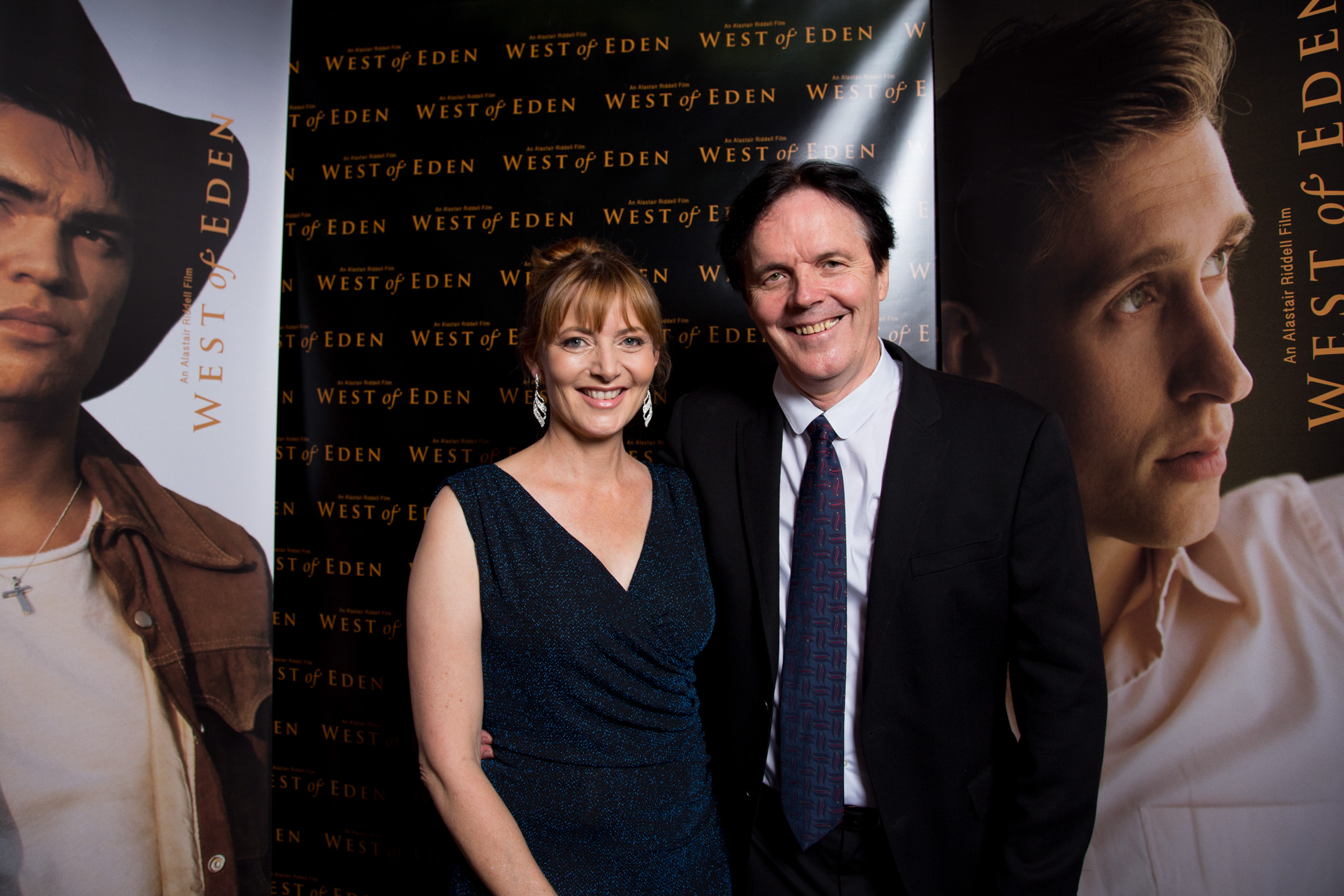 Vanessa and Alastair Riddell at The Vic celebrating their premier of West of Eden  in 2017
