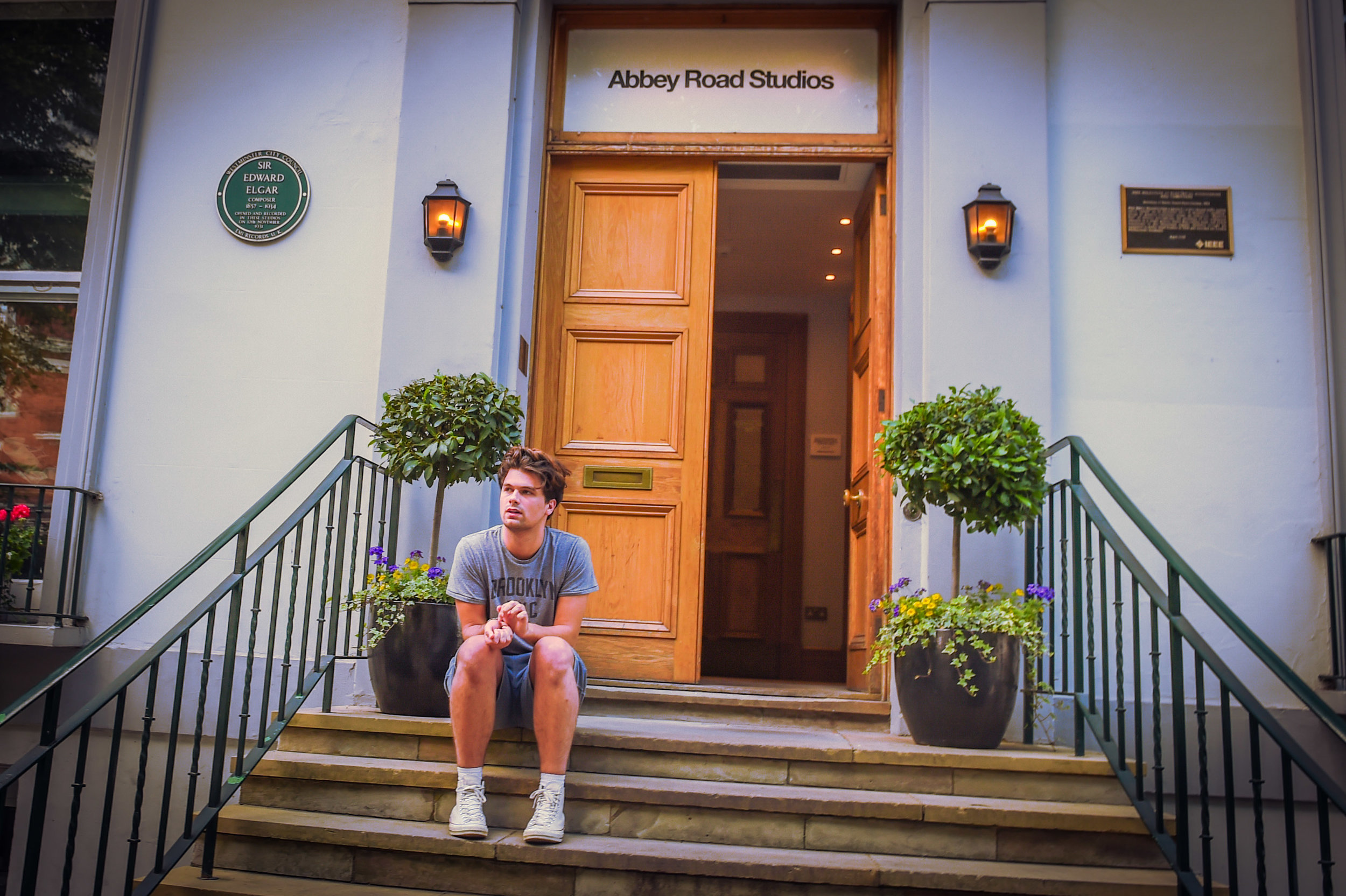 My youngest, Sam having a 5 min break on the front steps of the studio..