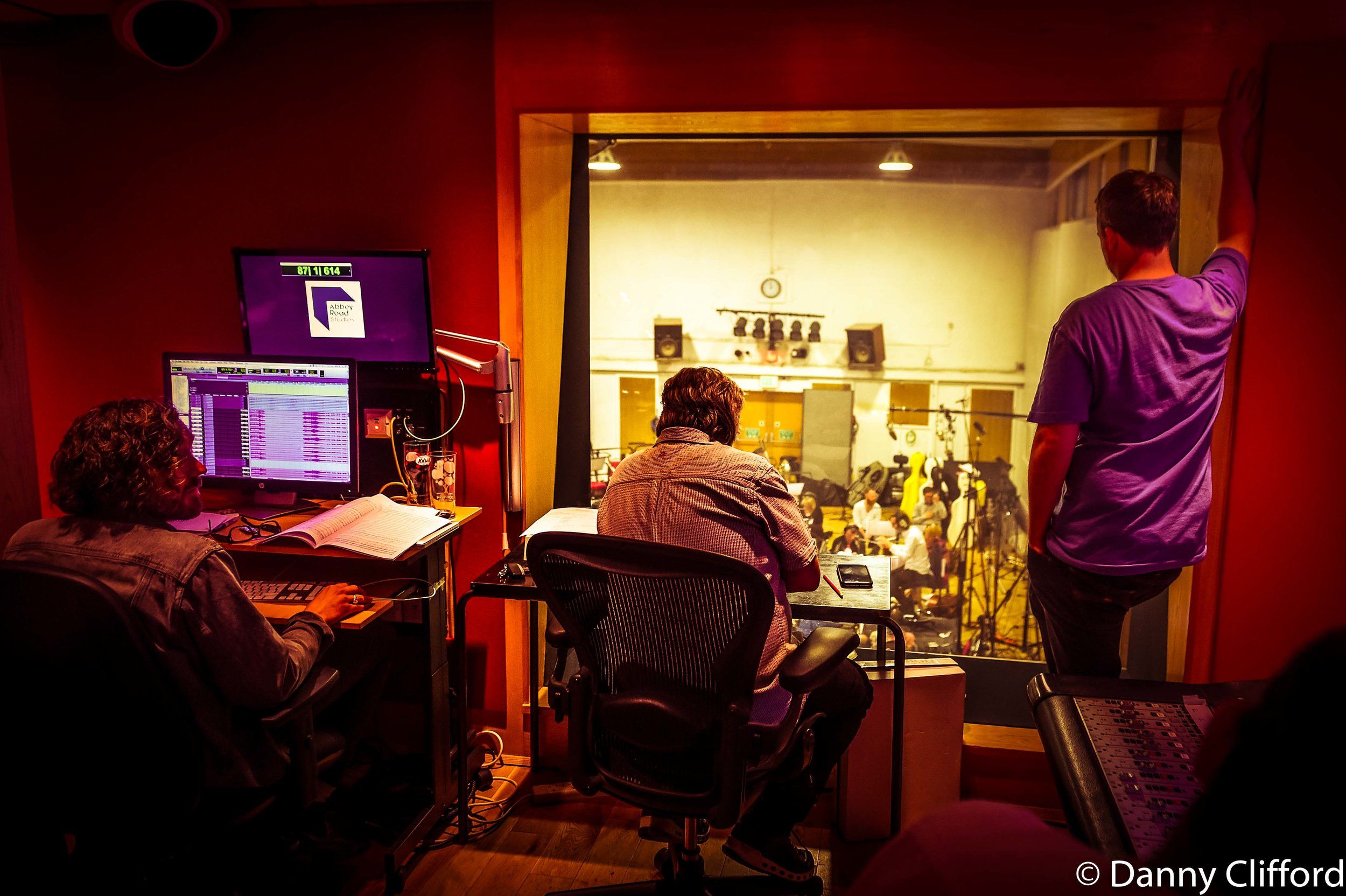 Andy Wright producing up in the control room in Studio 2. Looking down at the Orchestra. To his right is the charming, Lee Alexander.