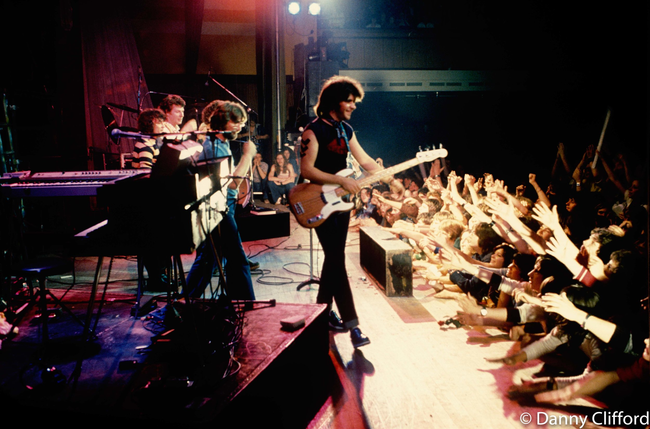 Sensational Alex Harvey Band leaving the stage at Portsmoth Guildhall, 1975.