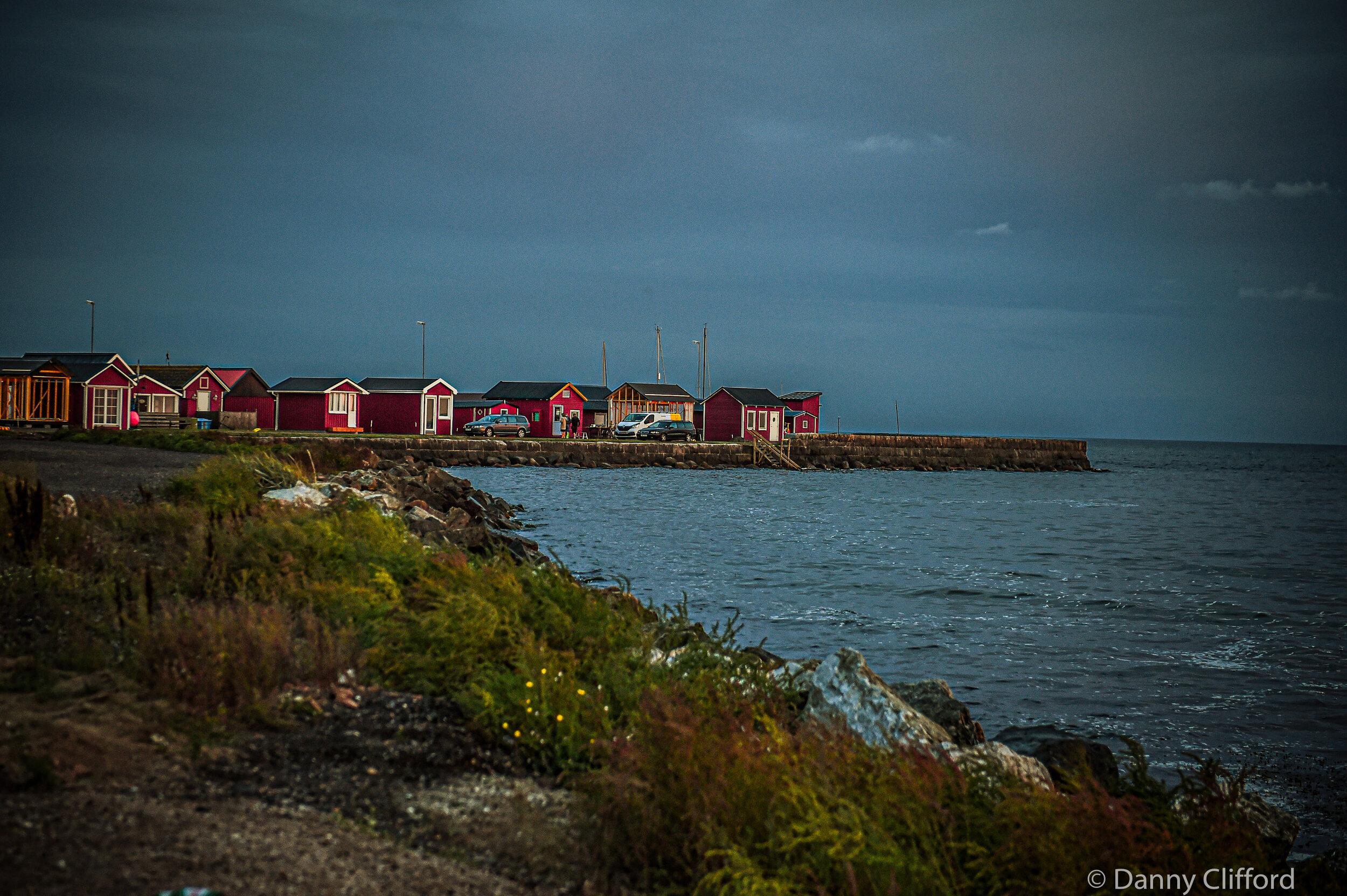 A typical Swedish coast at dusk.