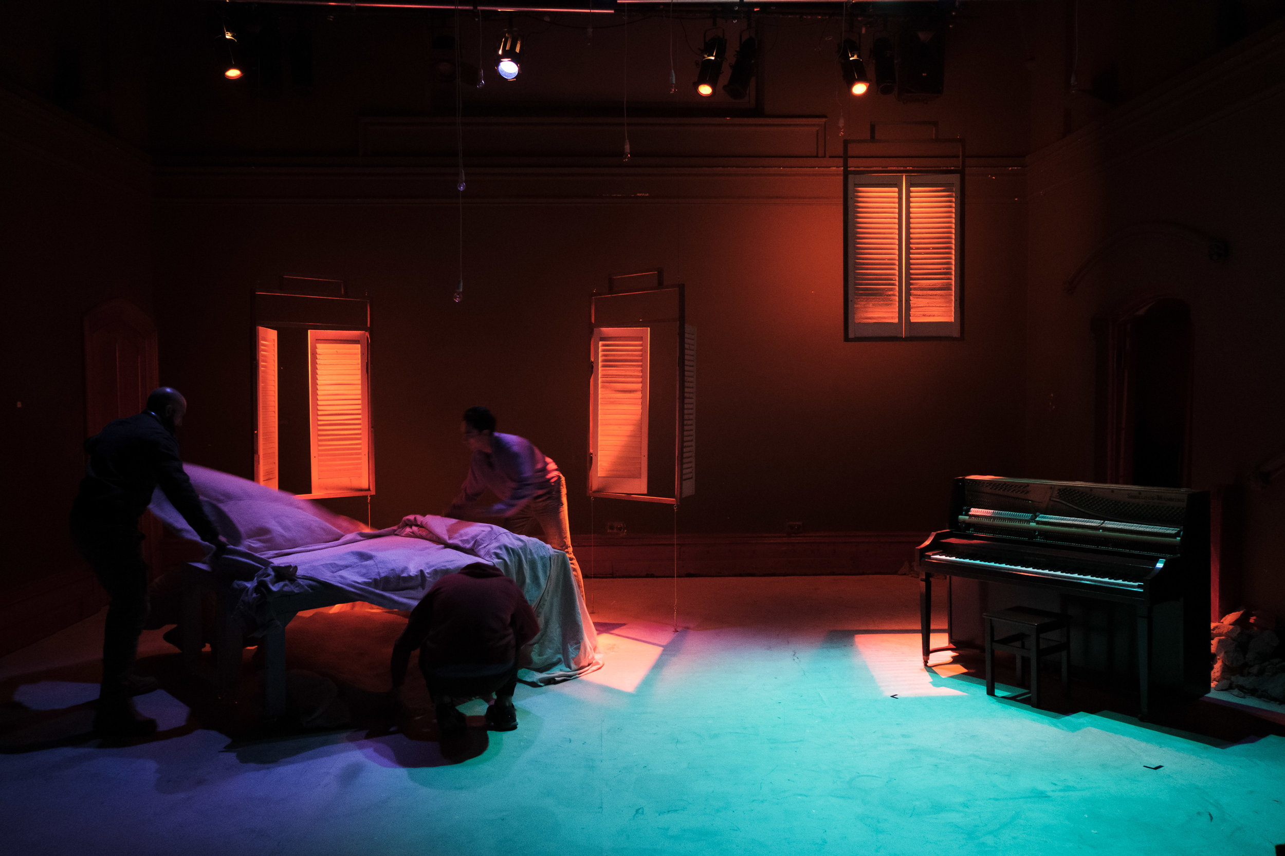 """""""Lara Week's set design is [a] highlight – the pieces are simple in their design but so viscerally reminiscent of a specific place and aesthetic. We are instantly transported into Leila and Omar's world […] all we care about for this 90 minutes is to not see this world destroyed.""""    – Review, The Music"""