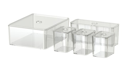 Set /5 Acrylic Boxes with Lids