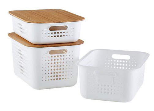 White Nordic Storage Basket with Handles
