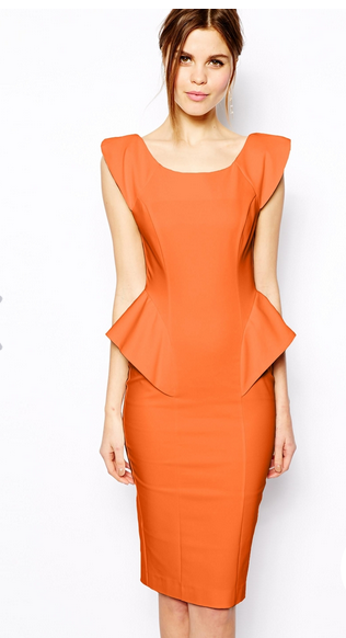 Pencil Dress with Structured Peplum