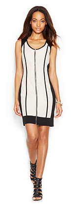 Sleeveless Colorblock Mesh Mini Dress