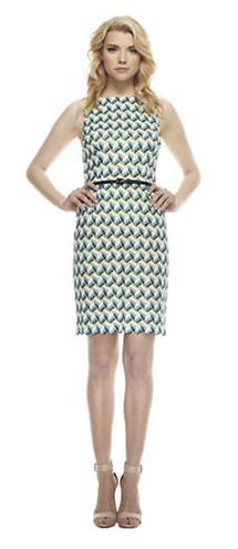 Wavy Knit Belted Sheath Dress