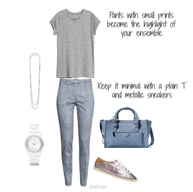 Plain T:   H&M    Printed Pants:   H&M    Metallic Sneakers:   Seed Heritage    Bag:   Zara    Double Necklaces:   TopShop     Watch:   DKNY
