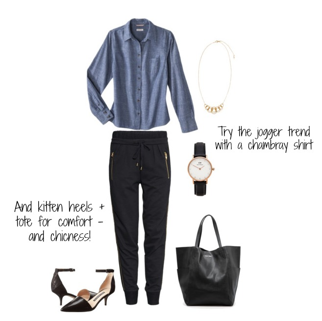 Chambray Shirt:   Target    Joggers:   H&M    Kitten Heels:   Zappos     Tote:   Mango      Watch :  Revolve Clothing      Necklace:   H&M