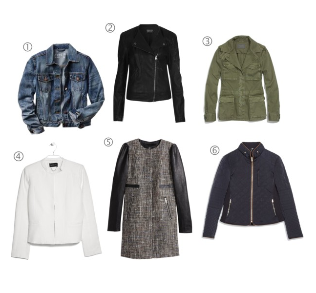 1. The Denim Jacket:   GAP    2. The Biker Jacket:   TopShop    3. The Anorak:   Madewell    4. The Leather Jacket:   Mango    5. The Textured Jacket:   H&M    6. The Puffer Jacket:   Zara