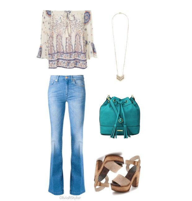 Peasant Blouse:   Topshop  |  Flared Jeans:   7 For All Mankind  |  Pendant Necklace:   Express  |  Bucket Bag:   Liz Claiborne  |  Clog Sandals:   FREEBIRD by Steven