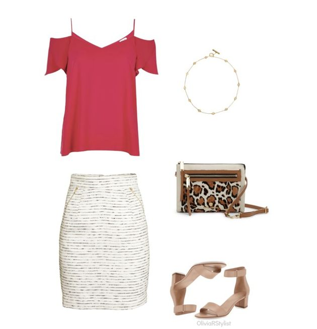 Top:   River Island  |  Textured Pencil   Skirt:   H&M  |  Toggle Short Necklace:   Tory Burch  |  Crossbody Bag:   Vince Camuto |   Block Heel Sandal:   Vince