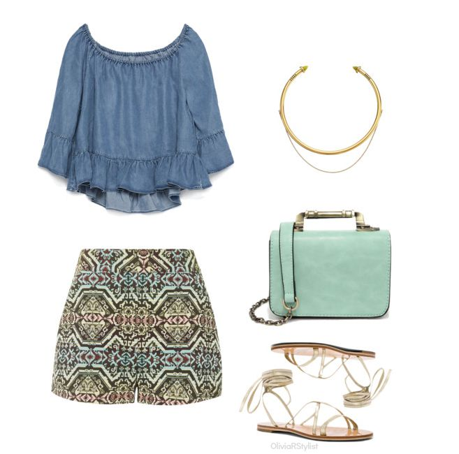 Top:   Zara |   High Waisted Shorts:     Topshop  |  Choker Necklace:   OBEY |   Mini Handbag:   Lulu's   | Gladiator Sandal:   RAYE