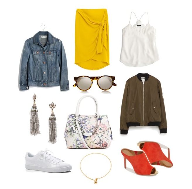 Denim Jacket:  Madewell   Knotted Wrap Skirt:  Zara   Scalloped Silk Cami:  J. Crew   Rounded Frame Mirrored Glasses:  Le Specs   Bomber Jacket:  Zara   Floral Satchel:  Fiorelli   Tassel Drop Earrings:  Baublebar   White Sneakers:  Puma   Asymmetrical Orb Choker:  Baublebar   Mule Heels:  Calvin Klein