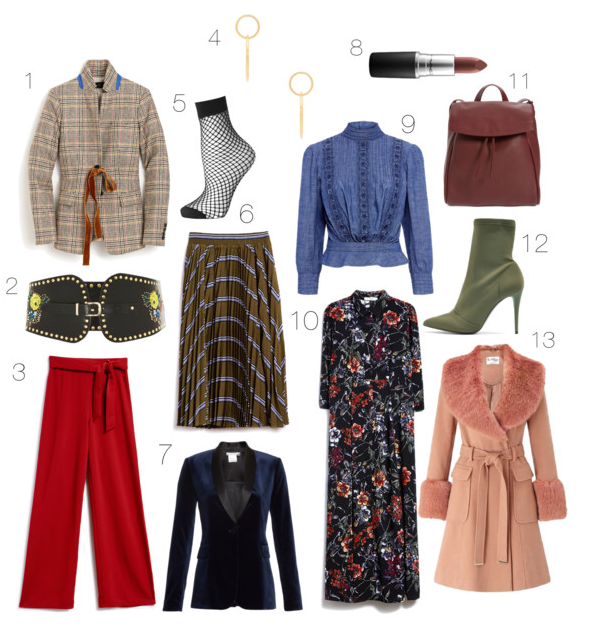 1. 70s Plaid {  J. Crew  }  2. Wide Belts {  Topshop  } 3. Fiery Red {  Farrow  } 4. Statement Earrings {  SHASHI  } 5. Fishnet {  Topshop  } 6. Mid-length Skirts {  Farrow  } 7. Everything Velvet {  Alice + Olivia  } 8. Chocolate Brown {  MAC  in Film Noir } 9. Victorian Collar Shirts {  Citizens of Humanity  } 10. Vintage Florals {  Farrow  } 11. Sleek Backpacks {  Skagen  } 12. Sock Boots {  Topshop  } 13. Vintage Fur {  Miss Selfridge }