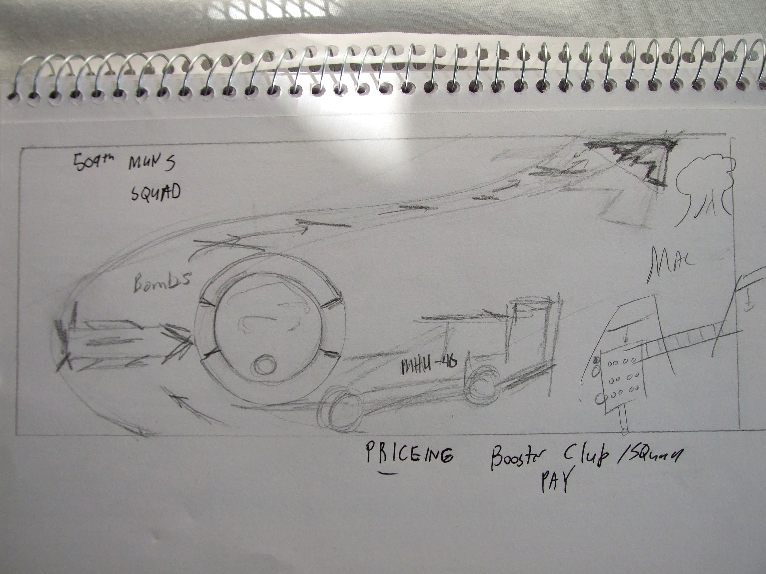 A very rough concept sketch. More mushroom clouds, trailers and RLAs