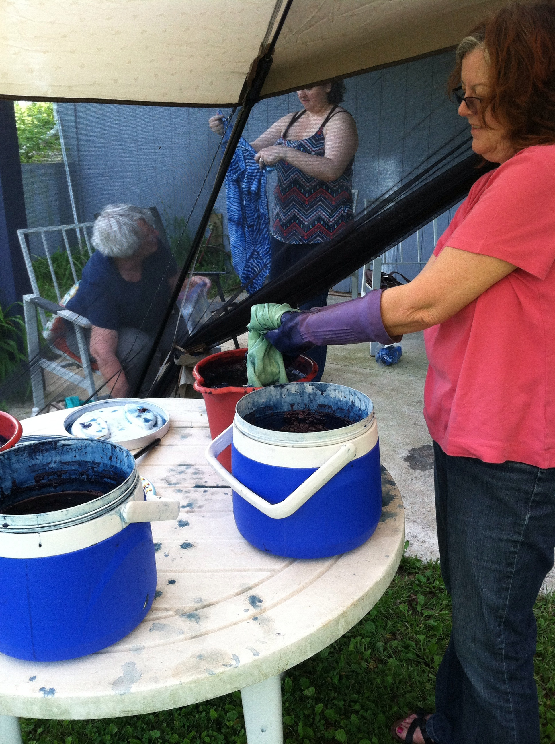 Learned how to indigo dye fabric. It was all very informative because indigo can be a little finicky.
