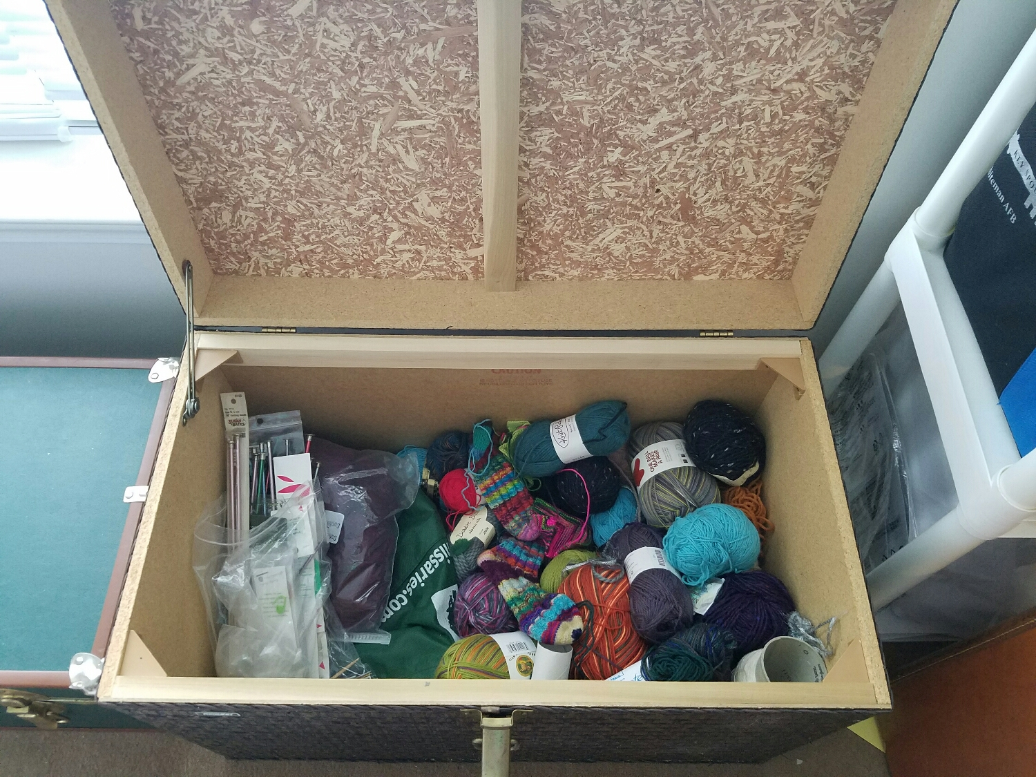 My yarn collection has finally made it out of the laundry hamper and into a trunk from the garage.