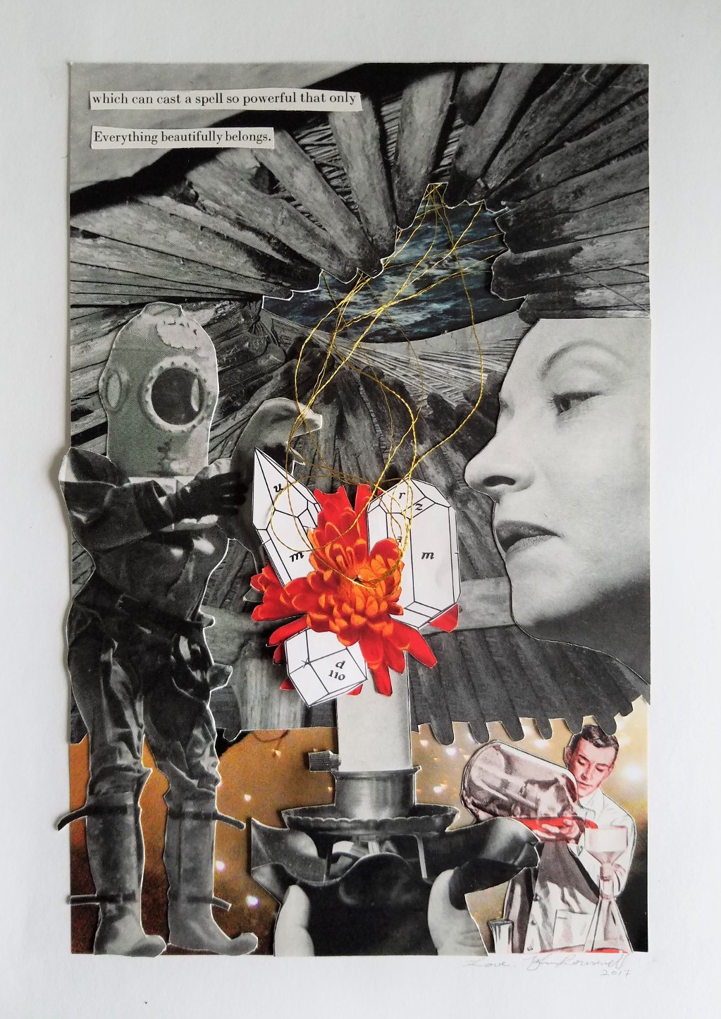 """Cast a Spell,  2017 Collage 9"""" x 11"""""""