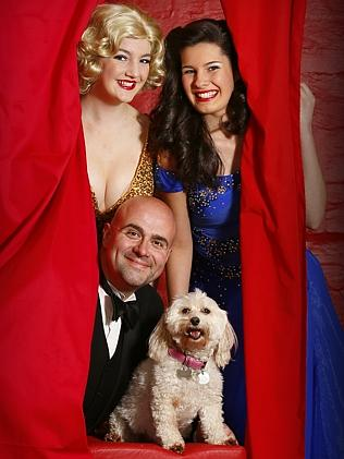 Lily the Moodle with co-stars (from left to right) Elyse Barnes, John X and Holly Gregg