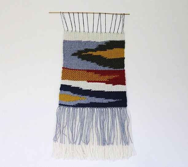 A handwoven wall hanging I made on a small frame loom