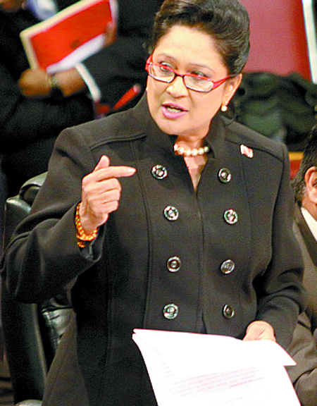 Kamla Persad-Bissessar leads a debate in Parliament . Photo courtesy Jyoti Communications Blog.