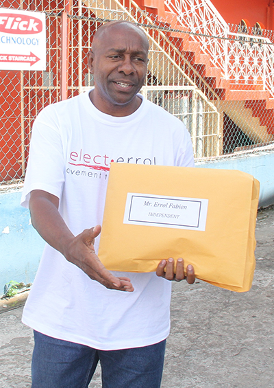 Candidates like Errol Fabien who ran independently for the St Joseph seat in 2013, won't stand a chance with Kamla's proposed amendments.  Photograph courtesy Guardian website.