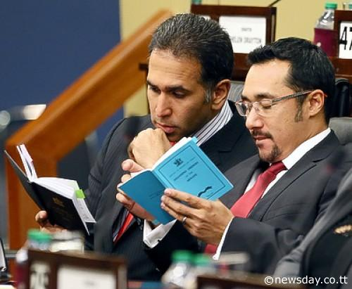 Upper to Lower: Fmr PNM Senators Faris al Rawi and Stuart Young have now graduated to the Lower House. The population will be looking out for their informed debates and....well....#sweg (Photo courtesy Newsday's website).