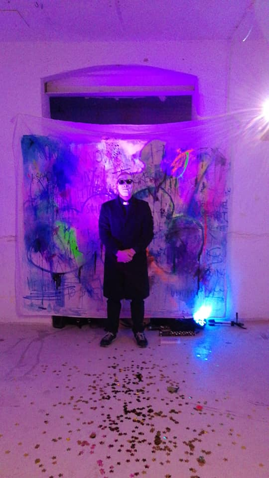 Blackman performing a marriage in the guise of Lozt, as part of the exhibition  Broken Paradox  at the Chelsea MA Interim Show, London, 2018.
