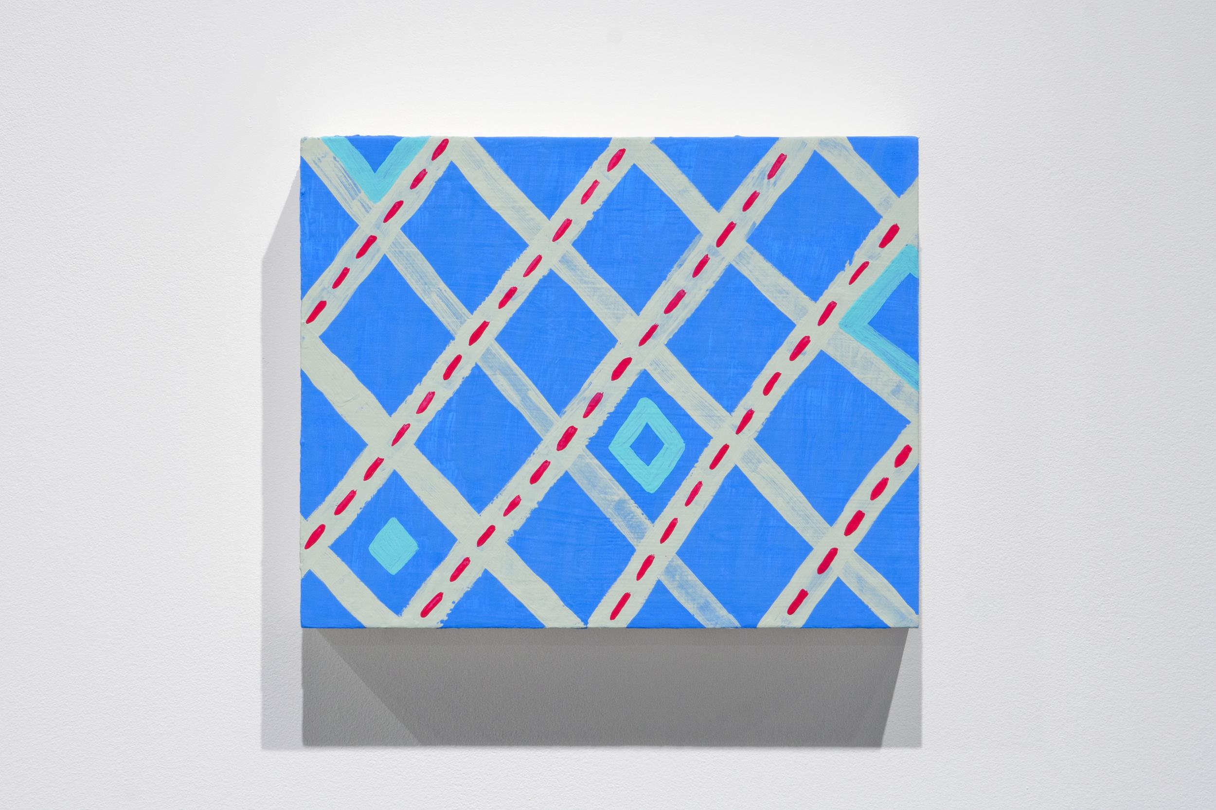 Pattern (Blue Diamonds) , 2014,acryla-gouache on panel,20 x 25 cm (8 x 10 in)