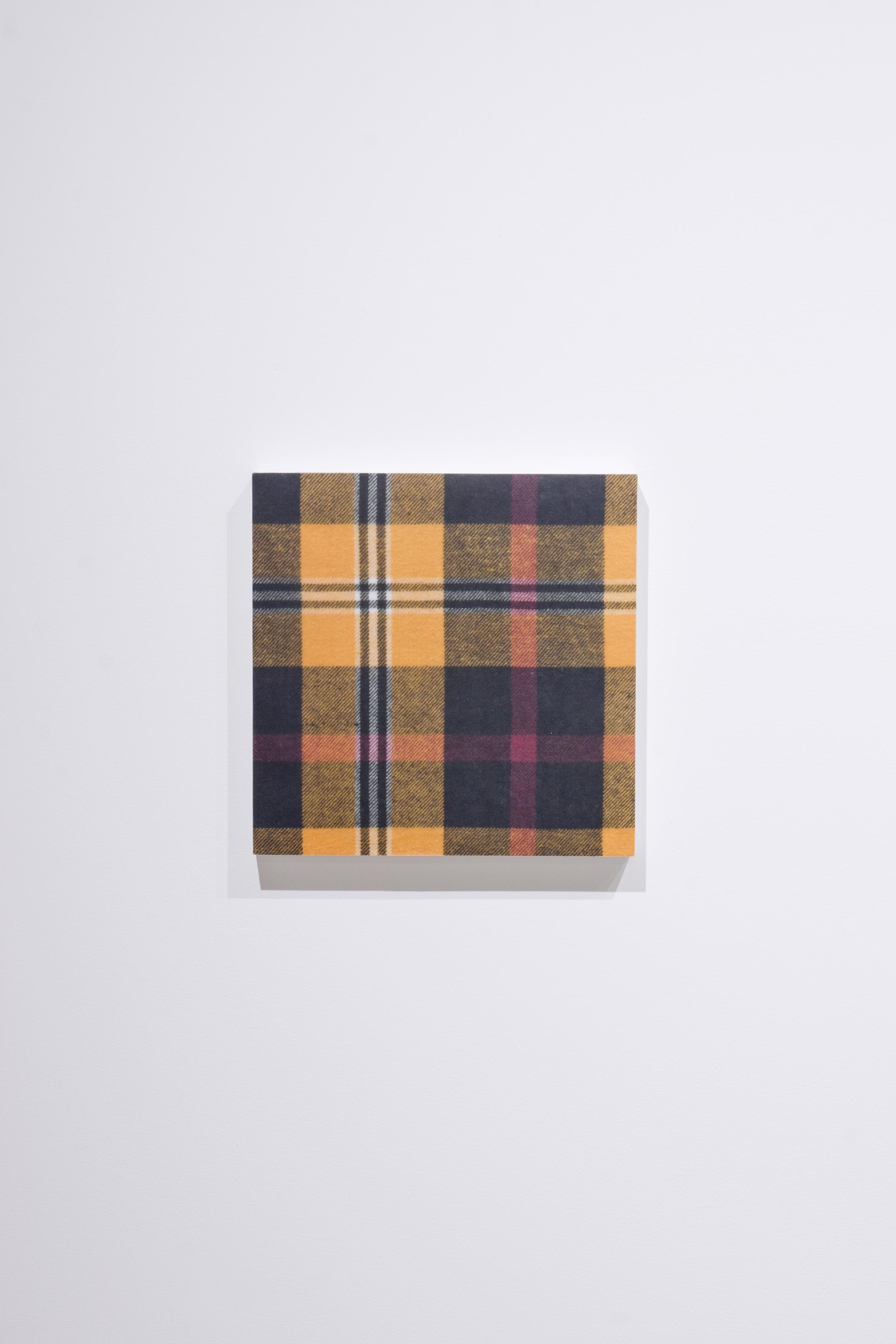Shirt (Black and YellowFlannel) , 2015,gel medium transfer on panel,25.5 x 25.5 cm (10 x 10 in)