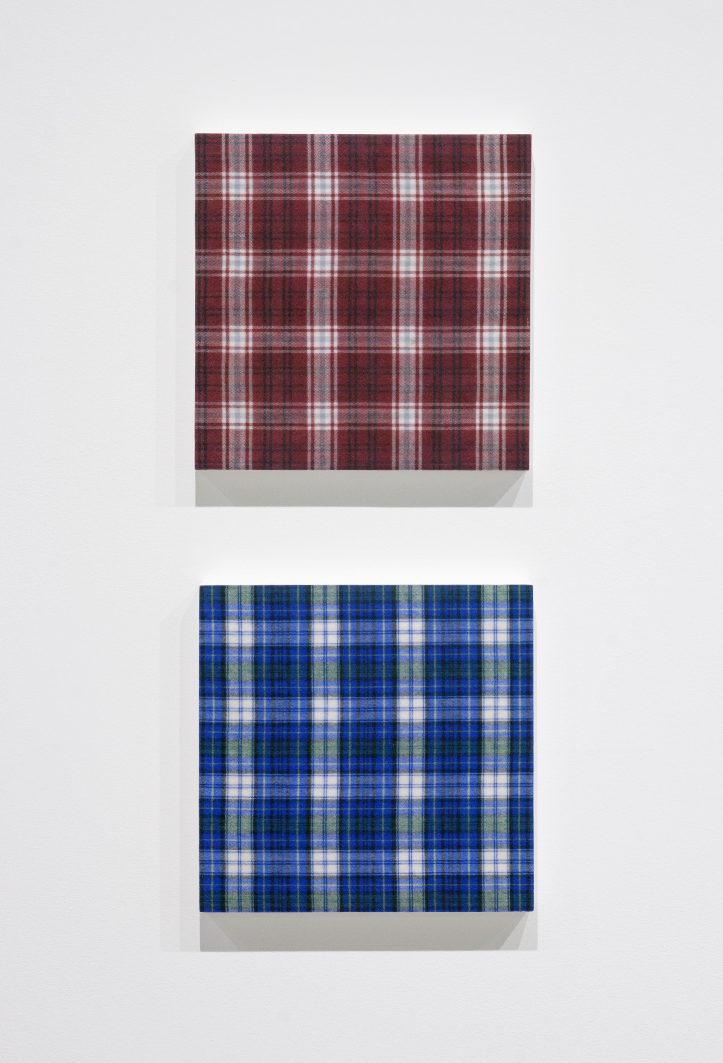 Shirt (Burgundy Plaid) , 2015,gel medium transfer on panel,25.5 x 25.5 cm (10 x 10 in); Shirt (Blue Plaid) , 2015,gel medium transfer on panel,25.5 x 25.5 cm (10 x 10 in)
