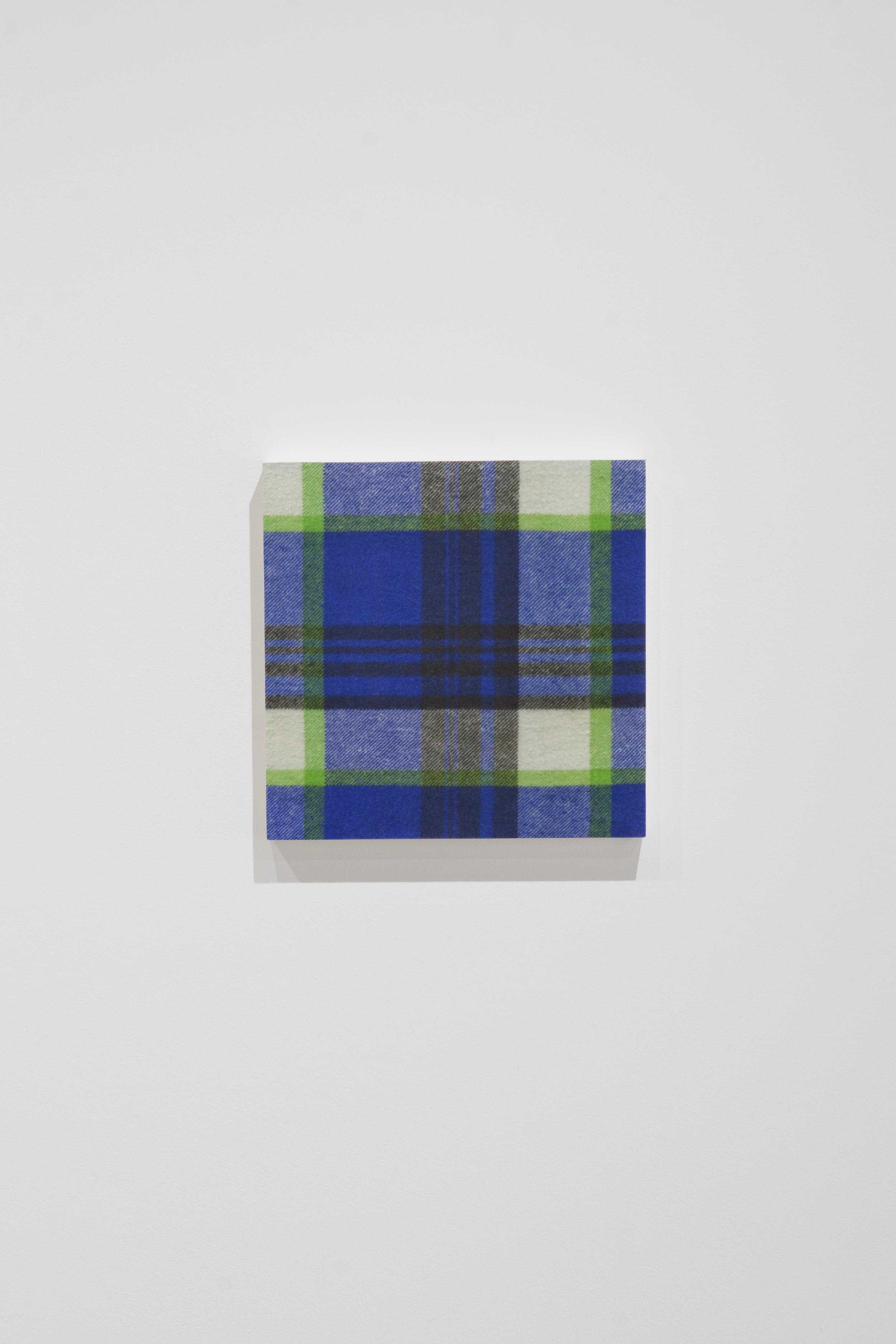 Shirt (Blue Flannel),  2015,gel medium transfer on panel,25.5 x 25.5 cm (10 x 10 in)