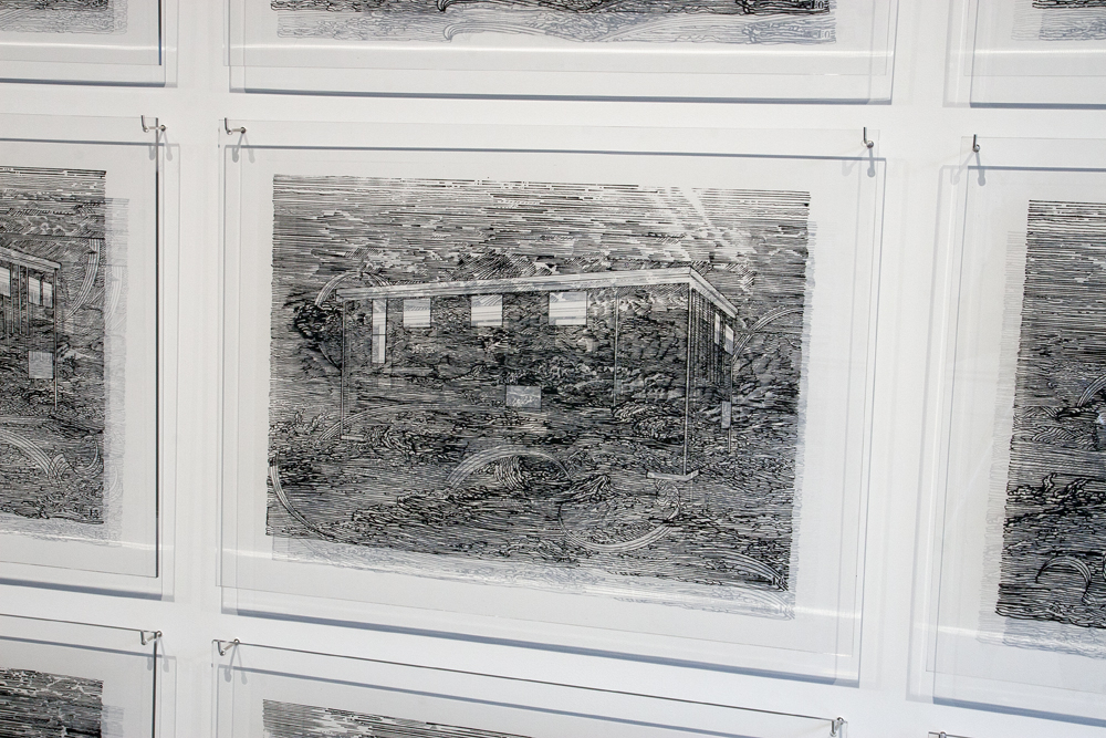Patrick Mahon.   Baker Lake House #1-24  (detail view),    silkscreen on plexiglass with hardware, 2009. For pricing and availability please contact:   info@dnaartspace.com