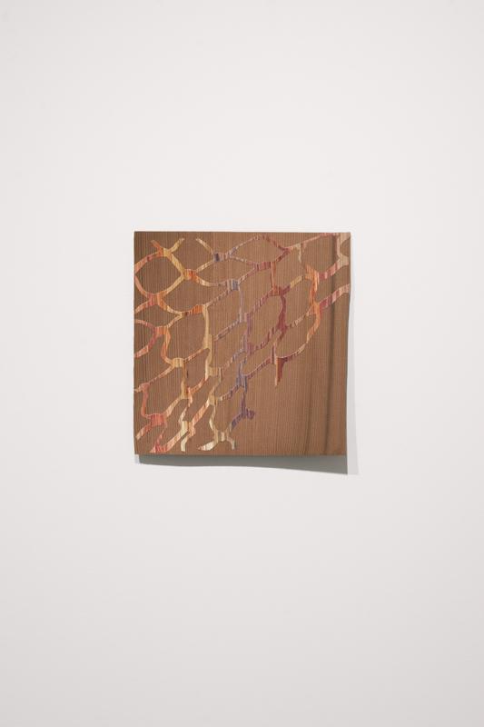 "Wood on Wood , 2014.  Acrylic on hand-cut paper, mahogany veneer,  8"" x 8"""